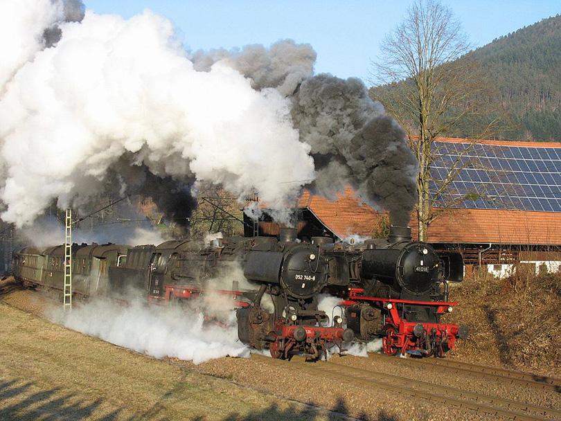 Parné lokomotívy 41.018 + 052.740 na špeciálny výlet do Gutach dňa 14.01.2009