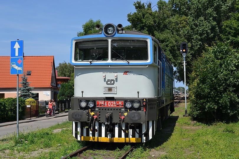 nurek 754.025 počas posunu, obiehania súpravy expresu Jantar v stanici Hel, 16.7.2014