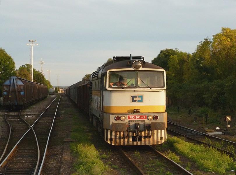 v podvečernej stanici Dobrovice počas služby na nákladnom vlaku