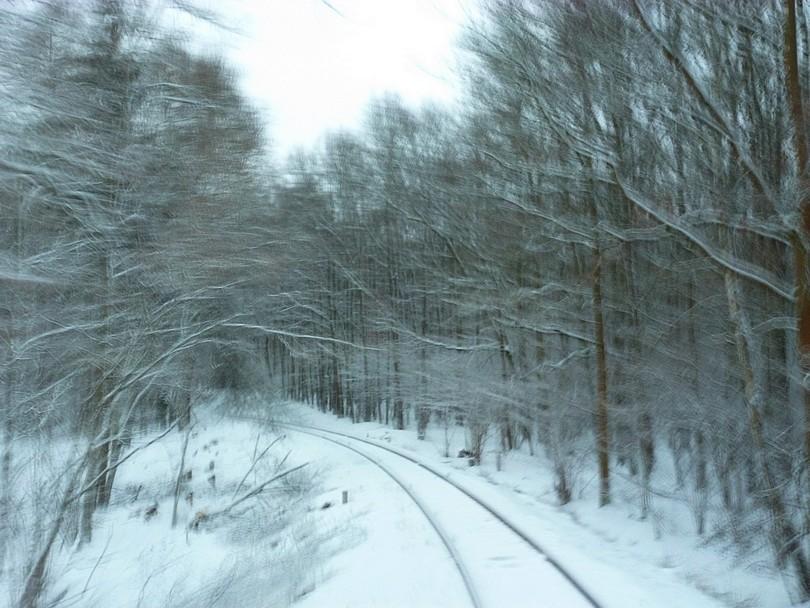 na dlhý čas, som s umeleckým efektom odfotil prejazd zimným lesom, tentokrát oblúk vľavo
