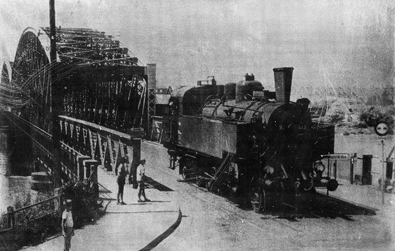 Tlačiarenský štočok železnično-cestného mosta ponad Dunaj v Linzi.
