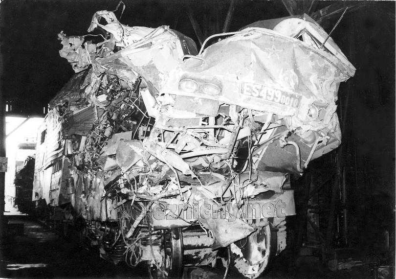 """""""čelo"""" gorily ES 499.0010 po nehode v depe, respektíve to, čo z neho zostalo"""