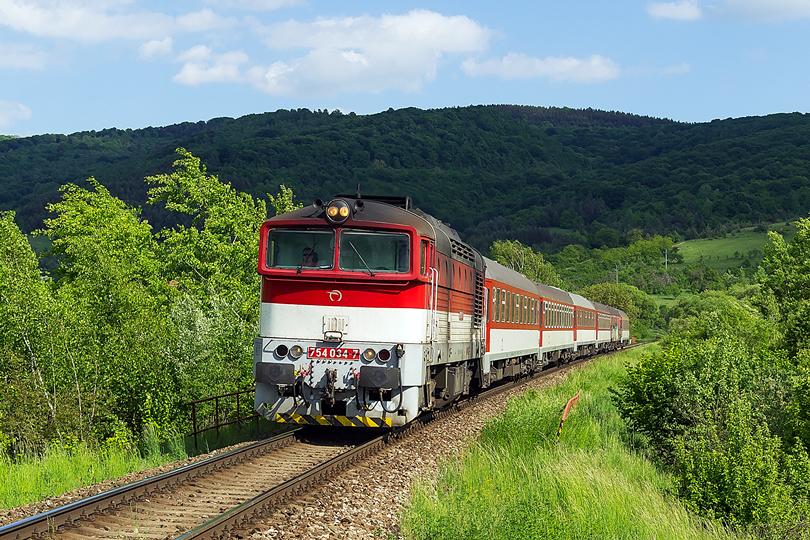 Pôvodný zámer ísť fotiť na most do Jovíc nám nevyšiel. Bol obsadený fotografmi z Nemecka. Preto padlo rozhodnutie ísť do Lipovníka. Netrvá dlho a je tu prvý vlak. 754 034-7 R 930 Ipeľ. 18.05.2015