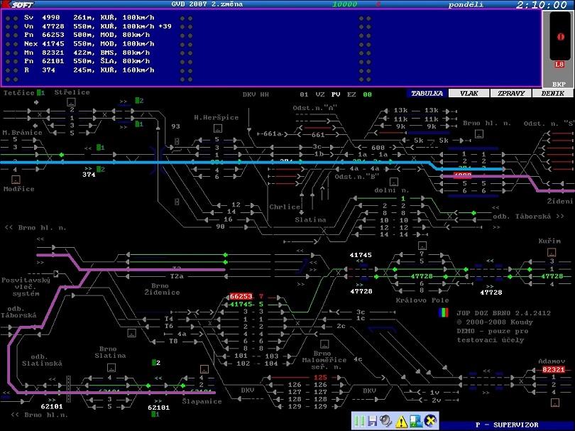 Toto je ten spomínaný BrnoSim v ktorom sú znázornené naše vlaky.