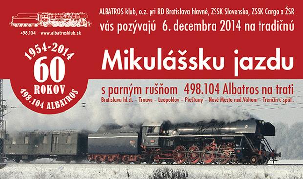 Mikul�ska jazda parn�ho ru��a 498.104 Albatros - 6.12.2014