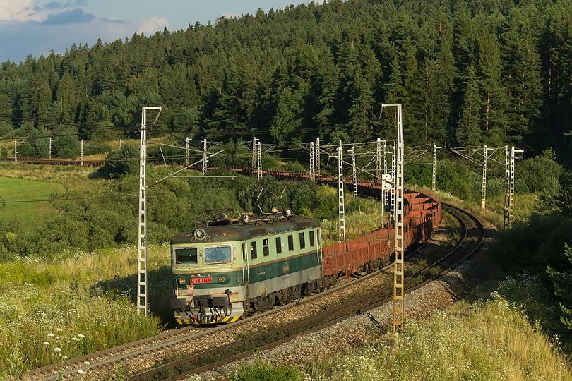 Júl - Rakaňa 183.017 so súpravou plošinových vozňov, zdoláva oblúk neďaleko obce Gánovce. 30.07.2015