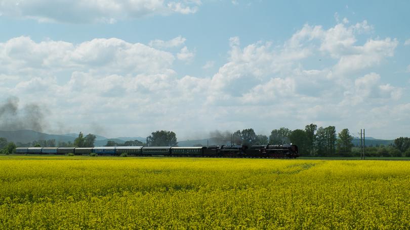 Takýto bočný pohľad z poľa repky sa nám naskytol na vlak.(Foto:AladaR)