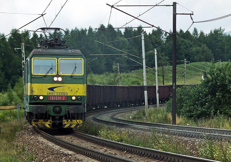Z druhej strany na nás vyšiel nákladný vlak v podaní dvojičky 131 031-32.(Foto:DjMiscin)