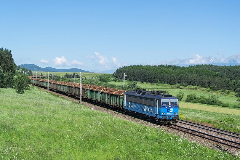 """Začiatkom júna sa opäť odvážalo drevo z pod Tatier. Do čela Pn 49899 sa postavila 363.522. Na konci pomáhal """"Čmeliak"""" 770.602. Gánovce 06.06.2016"""