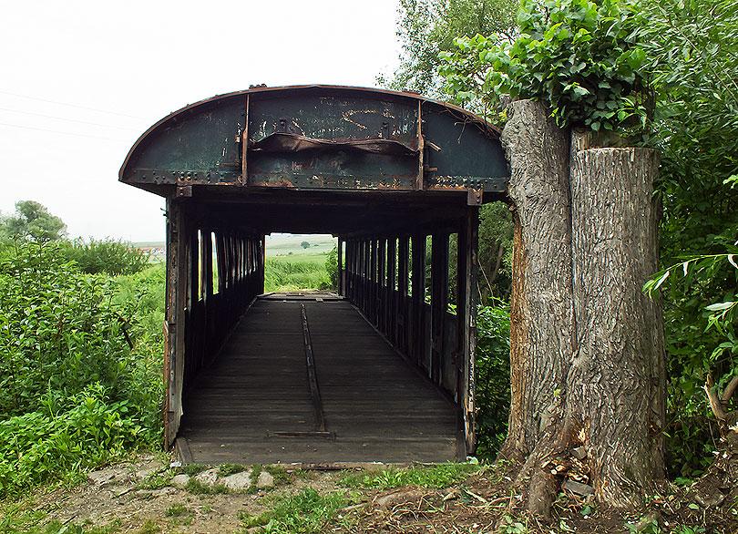 Vchod od časti Pstruša. Tu je vagón vrastený do stromu.