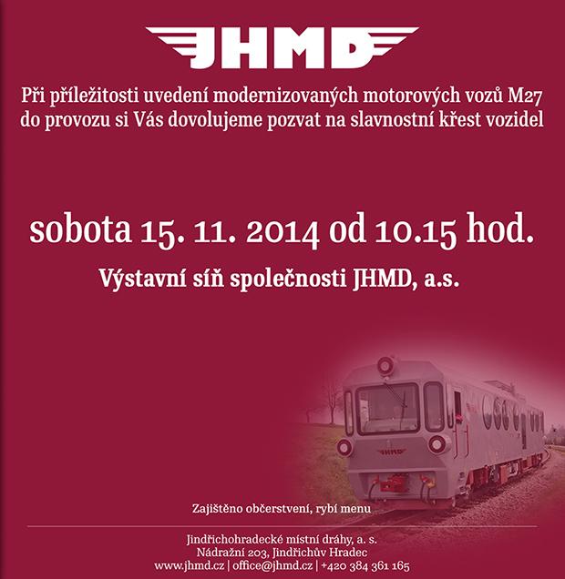 JHMD zvou na křest a první slavnostní výjezd motorového vozu M 27